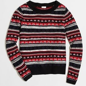 J. Crew Sequined Fair Isle Sweater Red Wool Blend